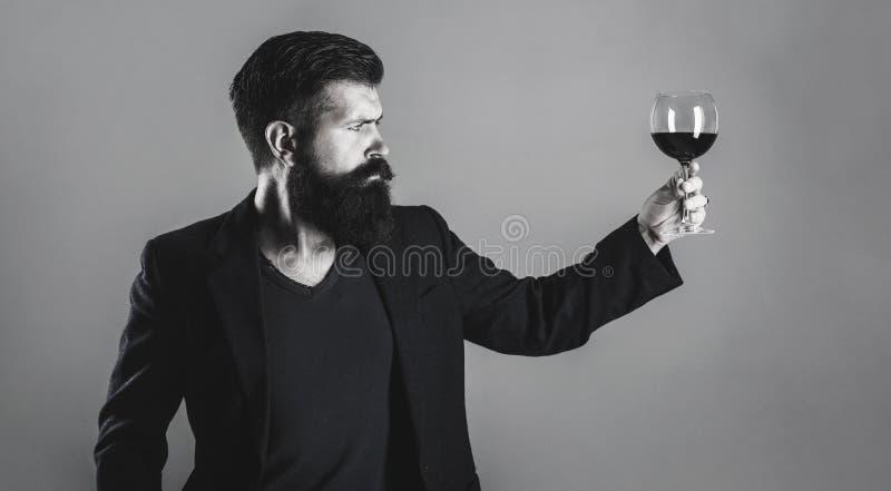 Sommelier degustator med exponeringsglas av vin, vinodling, manlig vinproducent Man som rymmer exponeringsglas av champagne i han arkivfoto