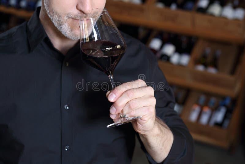Sommelier die cork van wijn ruiken stock afbeelding
