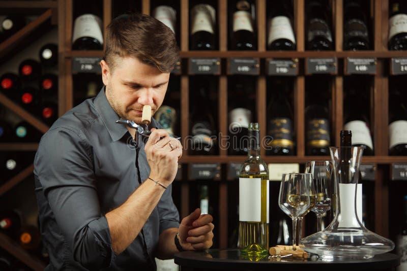 Sommelier en vino blanco degustating de la bebida de la bodega fotografía de archivo