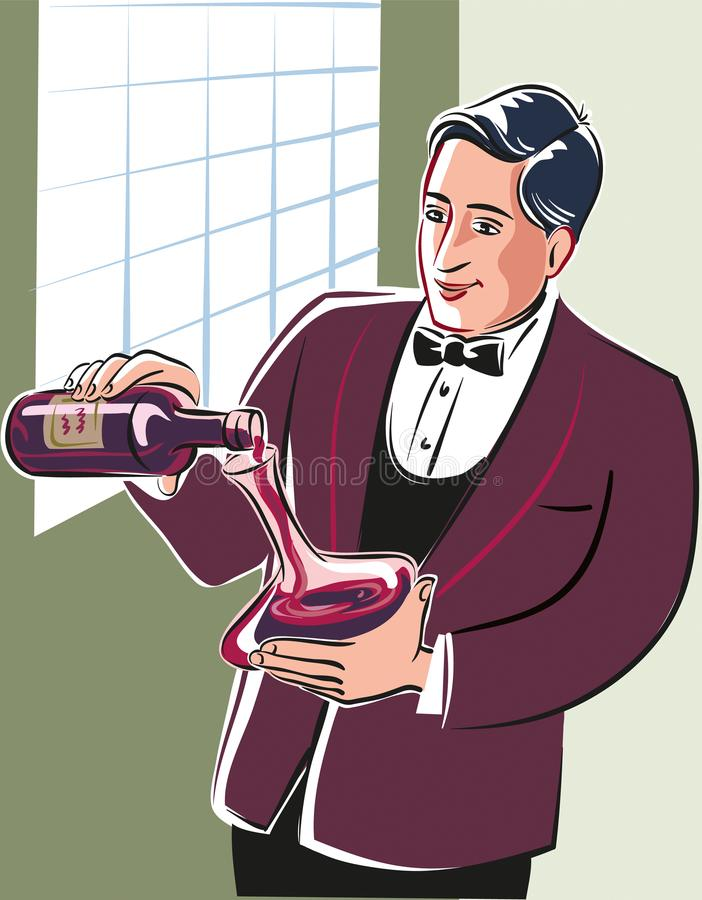 Sommelier novo, intenção no vinho de derramamento de uma garrafa ilustração do vetor