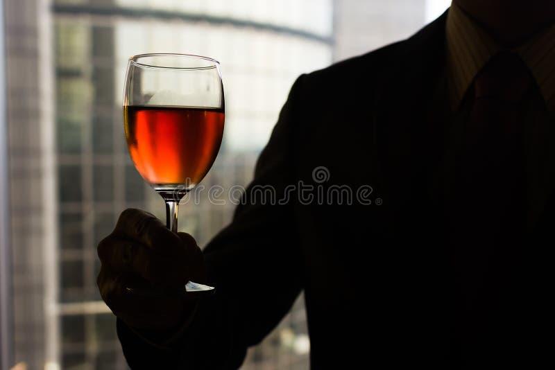 Sommelier que guarda um vidro do vinho fotos de stock royalty free