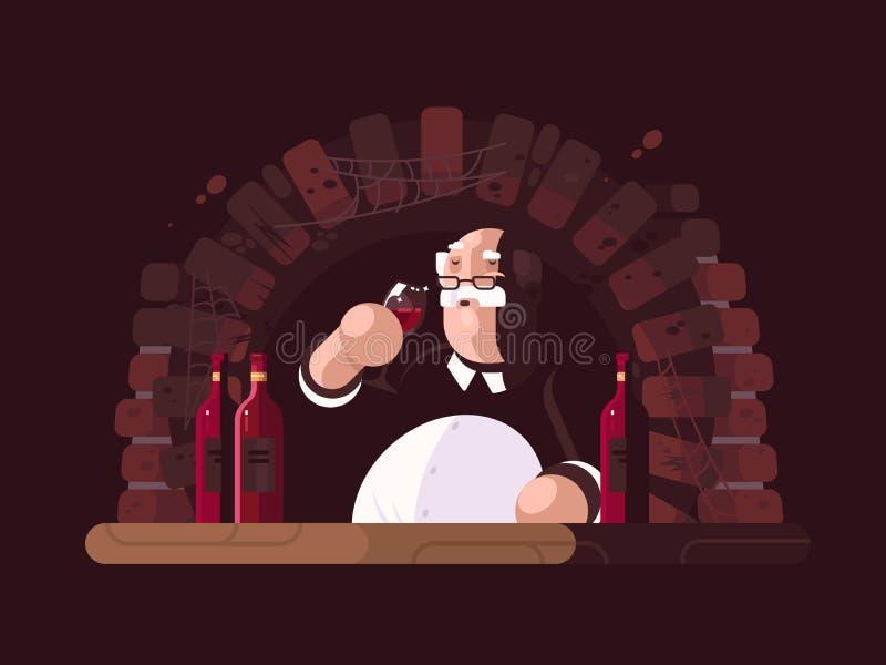 Sommelier smaczny wino royalty ilustracja