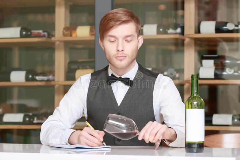 Sommelier testing red wine. I know everything about wine. Confident male sommelier in waistcoat and bow tie writing something in his note pad at the table with royalty free stock photo
