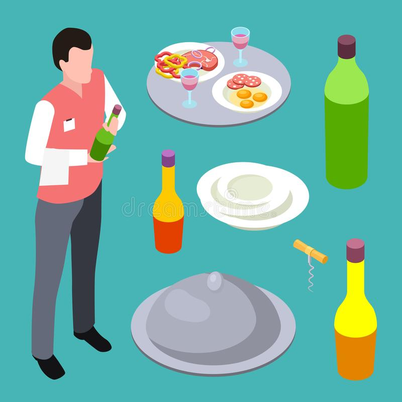 Sommelier or waiter and cafe equipments isometric vector collection stock illustration