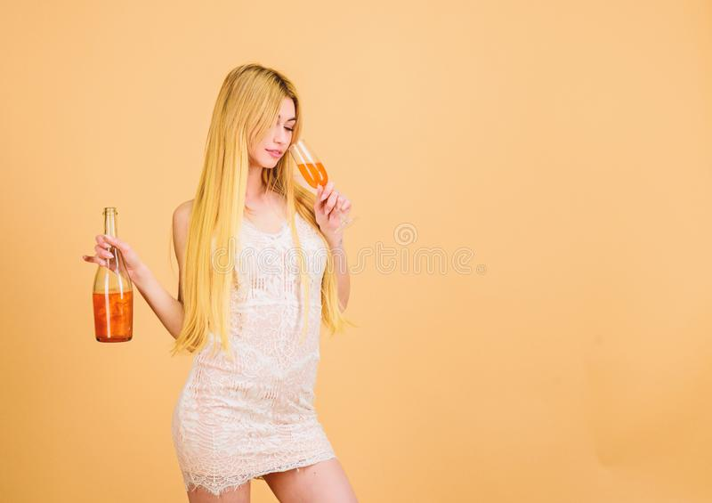 Sommelier woman at work. Drinking brandy. wedding and birthday toast. hangover. Party celebration. Bad habit. sexy woman stock photos