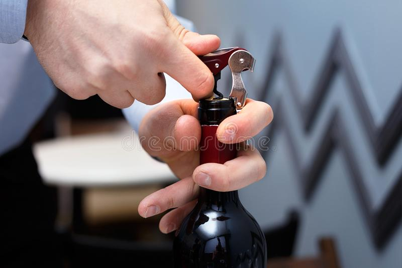 Sommelieren öppnar en flaska av vin med en korkskruv royaltyfria foton