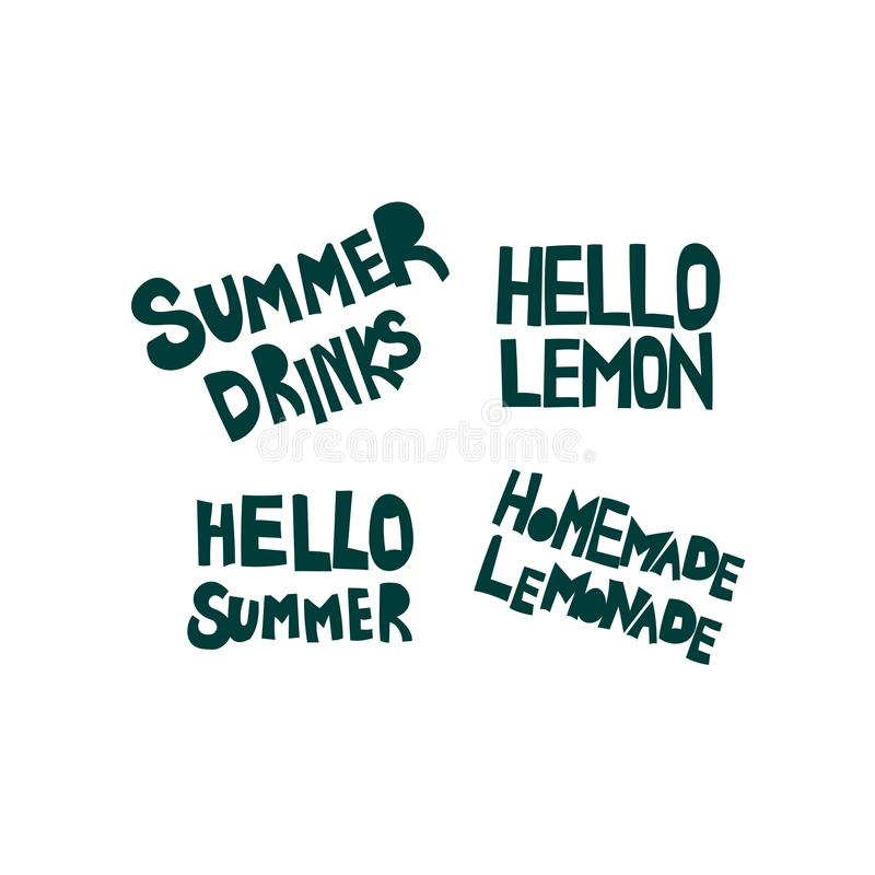 Sommer, übergeben kalte Getränke gezogenen flachen beschriftenden Satz vektor abbildung