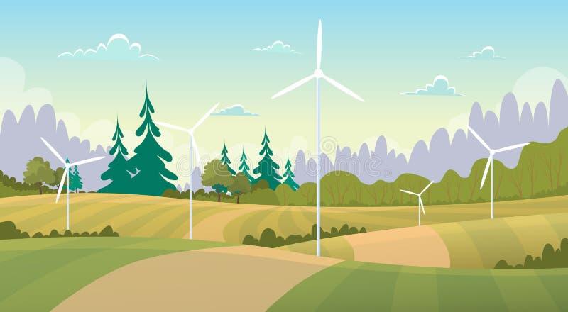Sommer-Ansicht-Landschaft mit Windkraftanlage-Alternativenergiequelle vektor abbildung
