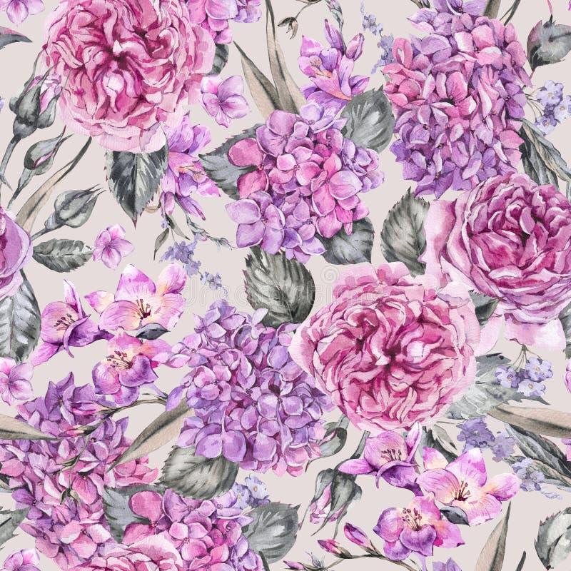 Sommer-Aquarell-Weinlese-nahtloses mit Blumenmuster mit dem Blühen vektor abbildung