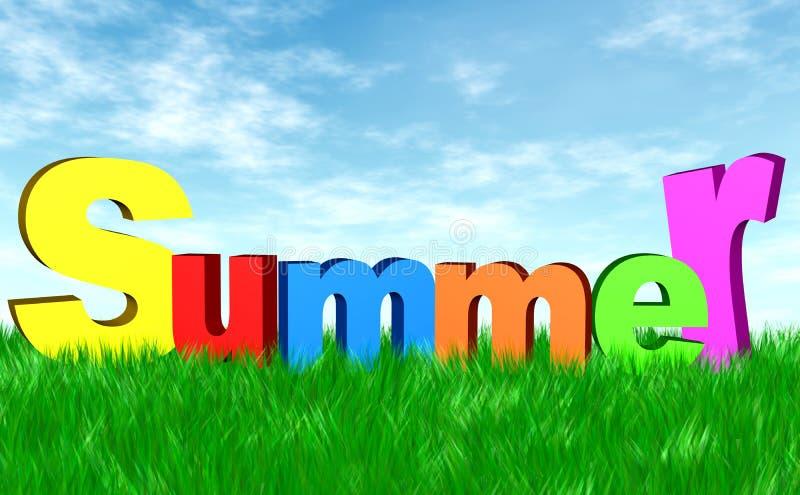 Sommer auf dem grünen Gras lizenzfreie abbildung