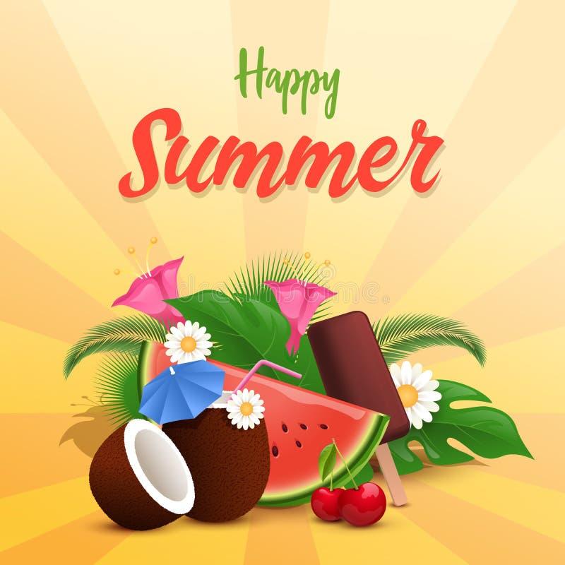 Sommer behandelt Vektorfahnenschablone Wassermelonenscheibe, Eiscreme, Kokosnusscocktail verziert mit exotischer Blume und lizenzfreie abbildung