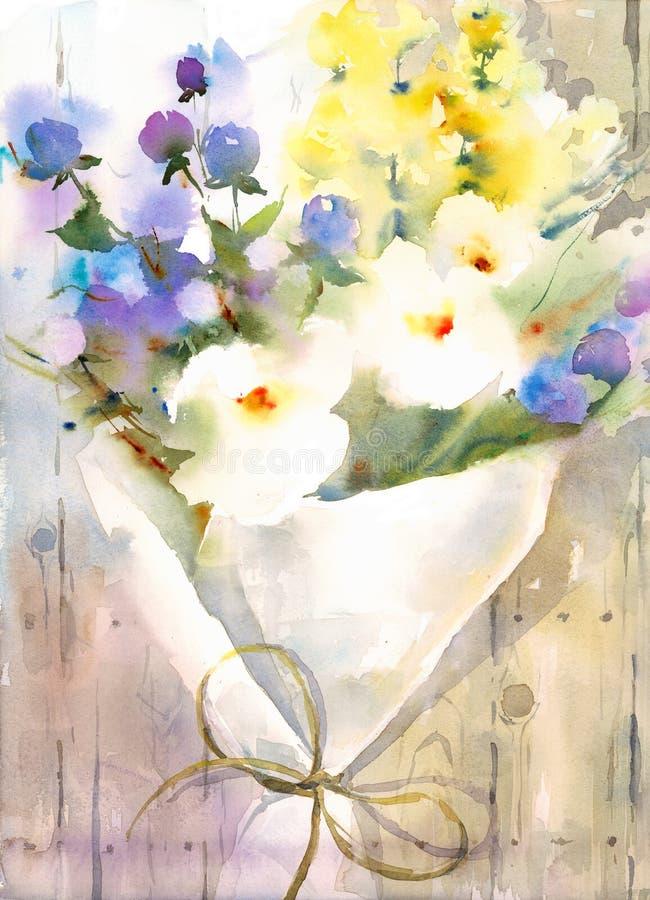 Sommer blüht die handgemalte Aquarell-Illustration stock abbildung