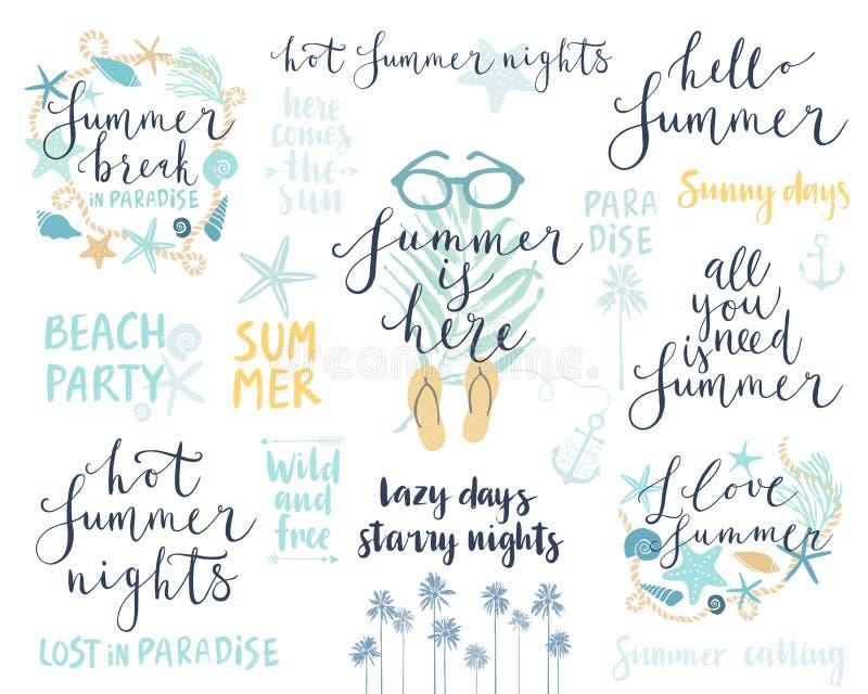 Sommer-Briefgestaltung eingestellt - Hand gezeichnet lizenzfreie abbildung