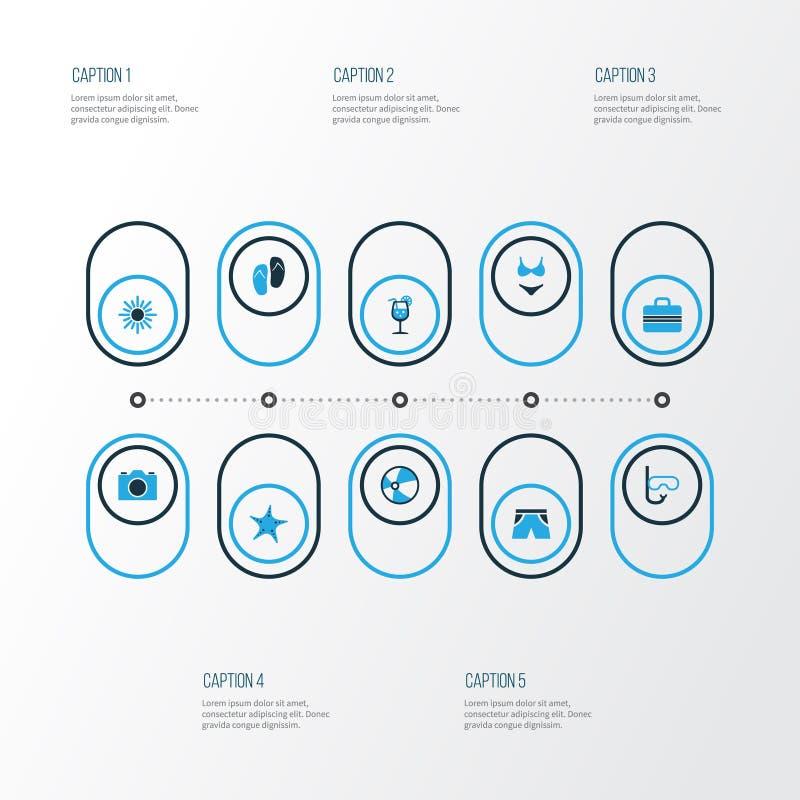 Sommer-bunte Ikonen eingestellt Sammlung Starfish, kurze Hosen, Sun und andere Elemente Schließt auch Symbole wie Ball ein vektor abbildung