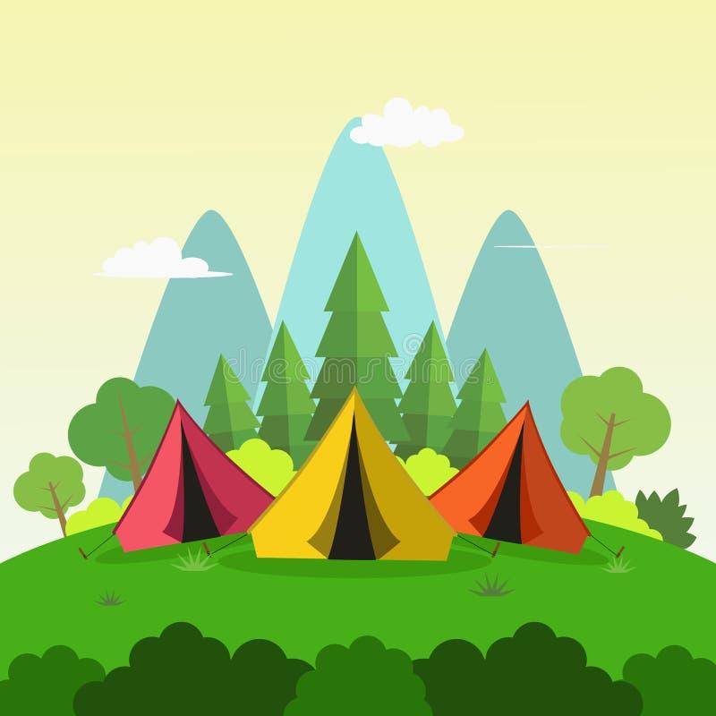 Sommer, der in Sunny Day Mountains Landscape, flache Art-Vektor-Illustration kampiert lizenzfreie abbildung