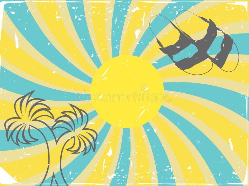 Sommer-Doppelpalmen-Sandelholz-Strudel-vektorhintergrund lizenzfreie abbildung