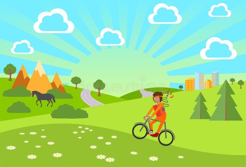 Sommer Sommer-Fahrrad-Fahrt Junge mit den Kopfhörern, die ein Fahrrad reiten vektor abbildung