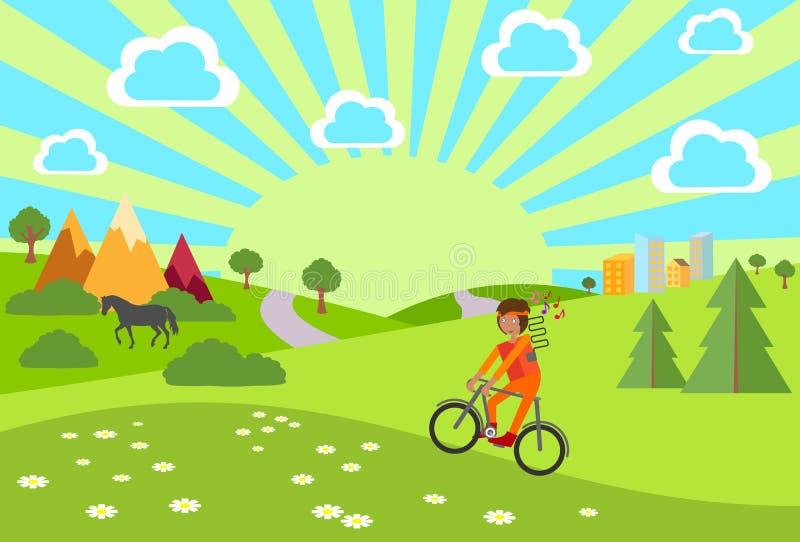 Sommer Sommer-Fahrrad-Fahrt Junge mit den Kopfhörern, die ein Fahrrad reiten Auch im corel abgehobenen Betrag stock abbildung