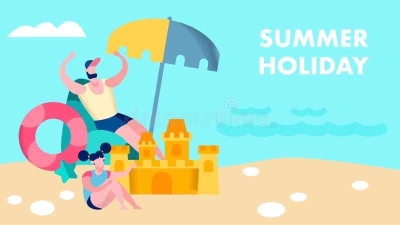 Sommer-Familienurlaub-Vektor-Fahnen-Schablone stock abbildung