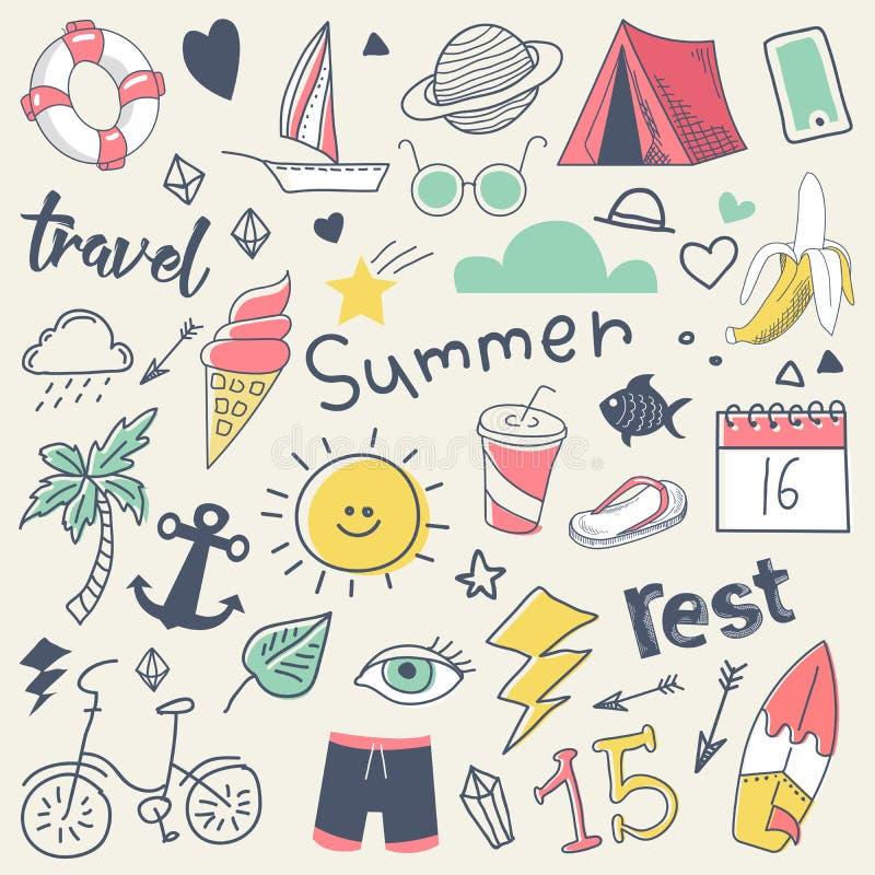 Sommer-Ferien-freihändige Hand gezeichnetes Gekritzel mit Sun, Brandung und Lager vektor abbildung