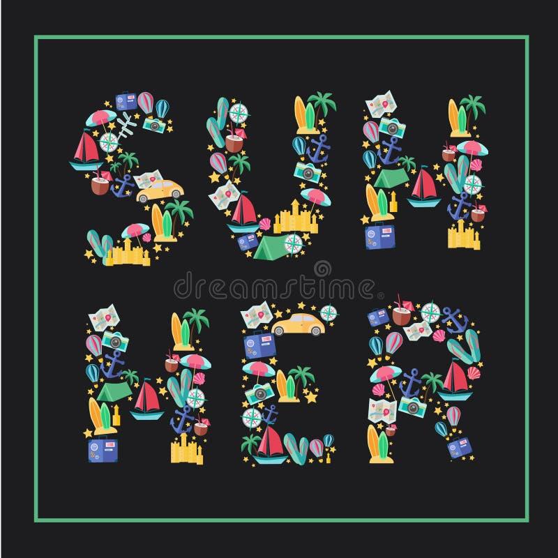 Sommer Flache Illustration mit typografischem stockbilder