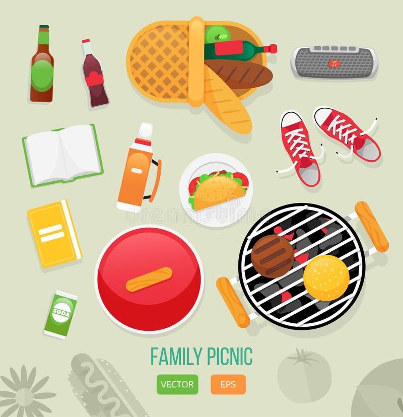 Sommer, Frühlingsgrill und Picknickikonen eingestellt Flache Art Snäcke, Gemüse, gesundes Lebensmittel Satz Elemente für Picknick lizenzfreie abbildung