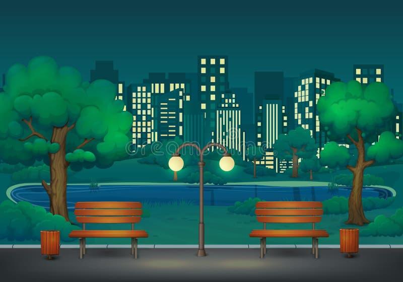 Sommer, Frühlingsnachtparkszene Zwei Bänke mit Abfalleimern und Straßenlaterne auf einer Parkspur mit üppigen grünen Bäumen und B lizenzfreie abbildung