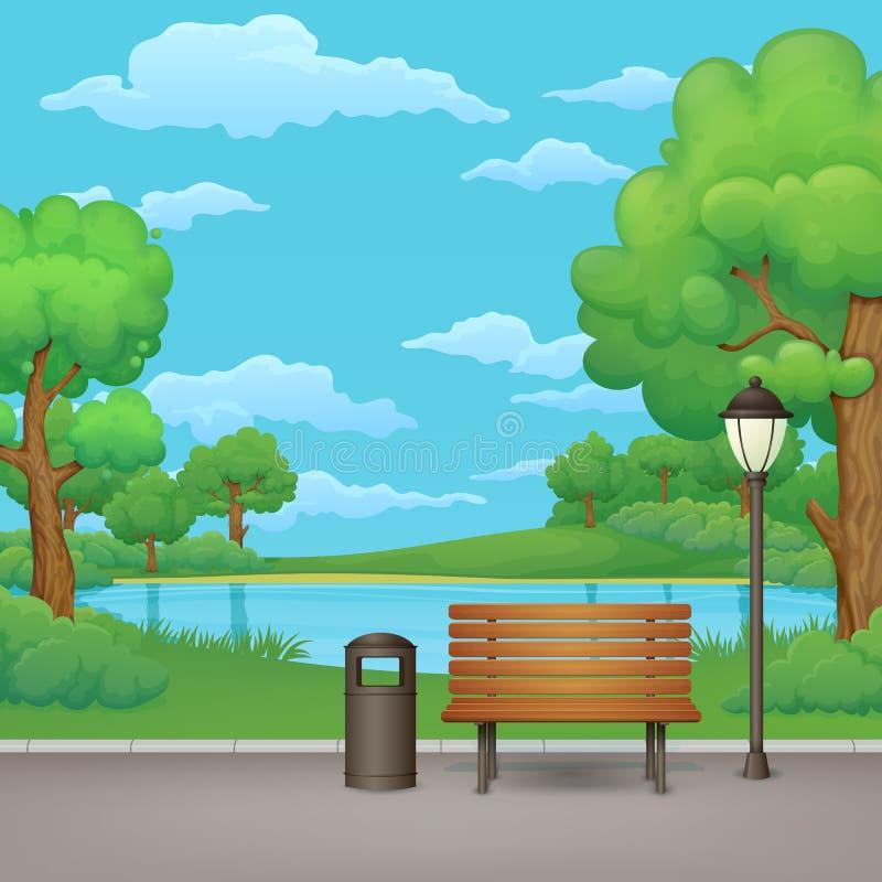 Sommer, Frühlingstagespark Holzbank, Abfalleimer und Straßenlaterne mit einem See im Hintergrund vektor abbildung