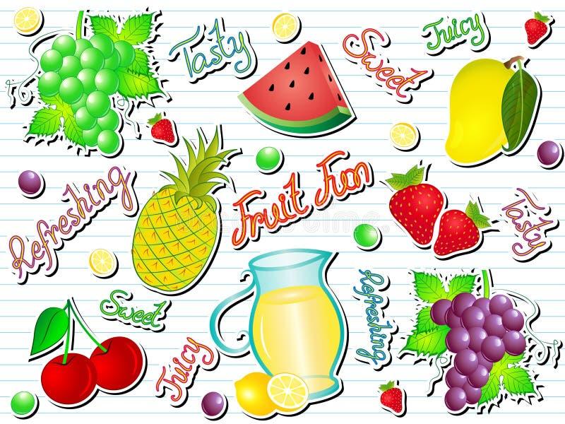 Sommer-Frucht-Spaß-Gekritzel-Vektor-Illustration stock abbildung