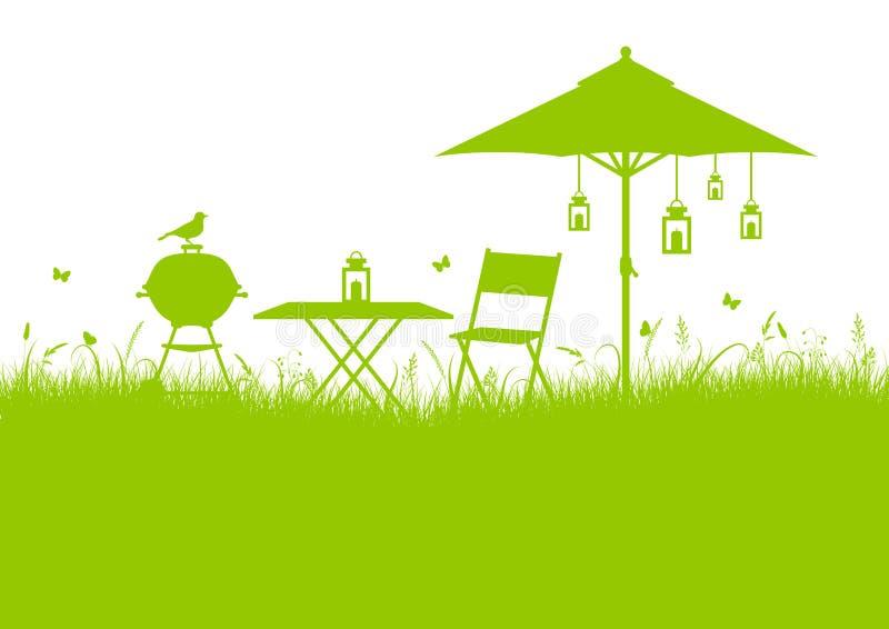 Sommer-Garten-Grill-Hintergrund-Grün vektor abbildung