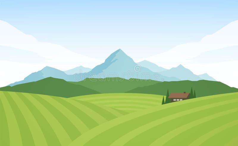 Sommer-Gebirgsalpine Landschaft mit Feldern und Haus vektor abbildung