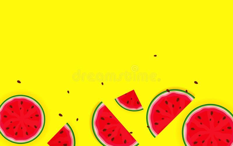 Sommer-Hintergrund von der Wassermelone Vektor Illustratio stock abbildung