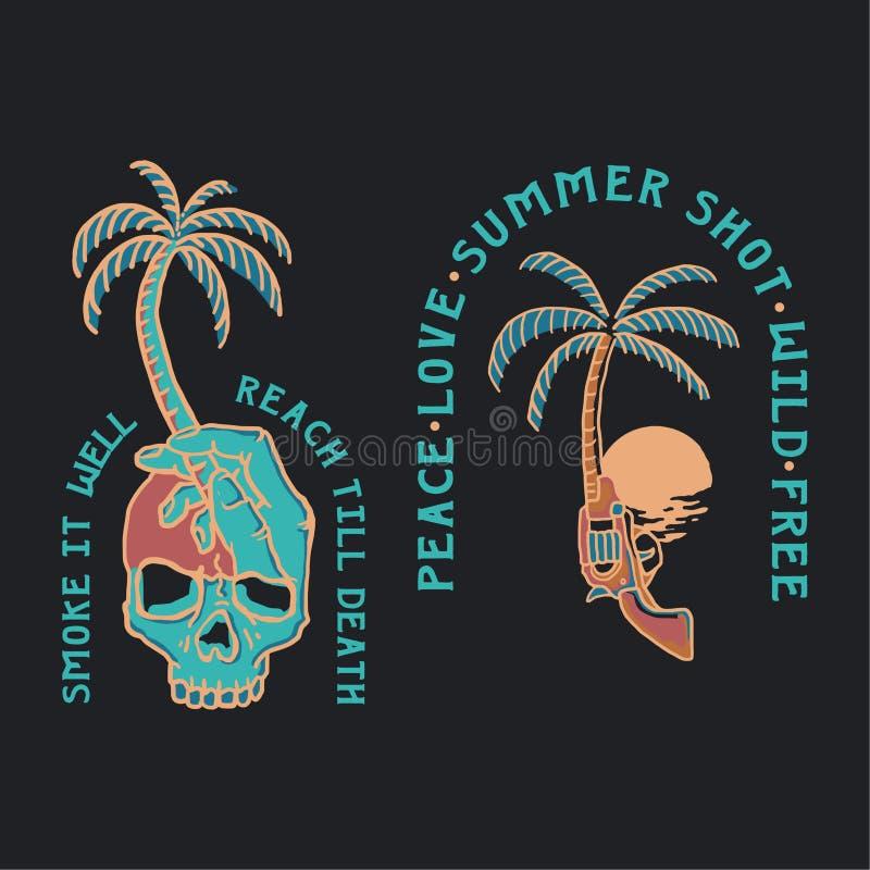 Sommer-Illustrationsschädel und -gewehr tropisch lizenzfreie abbildung