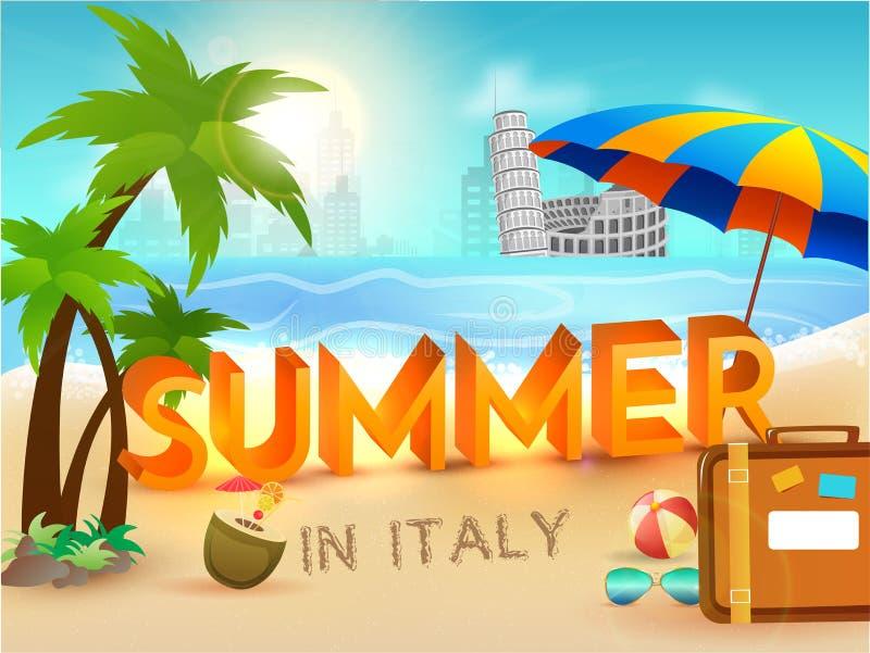 Sommer in Italien-Plakat mit stilvoller Textreisetasche, Regenschirm, s lizenzfreie abbildung