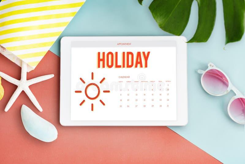 Sommer-Kalender-Zeitplan-Spaß-Glück-Konzept stockfotografie