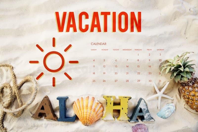 Sommer-Kalender-Zeitplan-Spaß-Glück-Konzept stockfotos