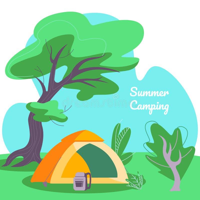 Sommer-kampierende quadratische Fahne, Zelt und Rucksack vektor abbildung