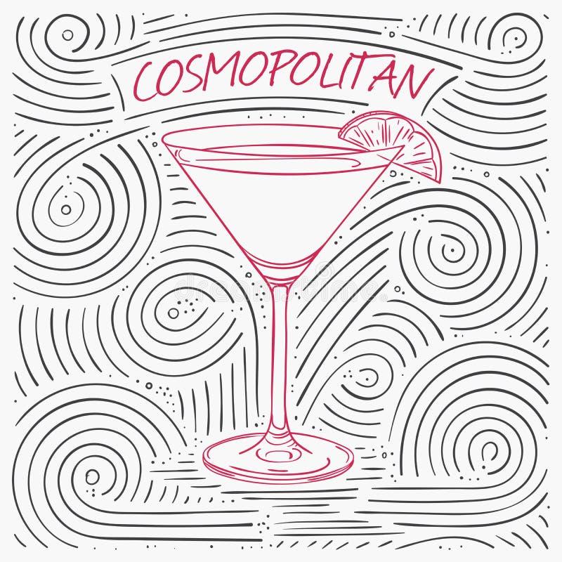 Sommer-Karte mit der Beschriftung - kosmopolitisch Handgeschriebenes Strudel-Muster mit Cocktail im Glas lizenzfreie abbildung