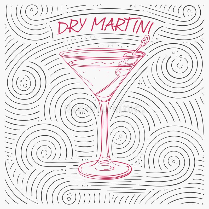 Sommer-Karte mit der Beschriftung - trockener Martini Handgeschriebenes Strudel-Muster mit Cocktail im Glas stock abbildung