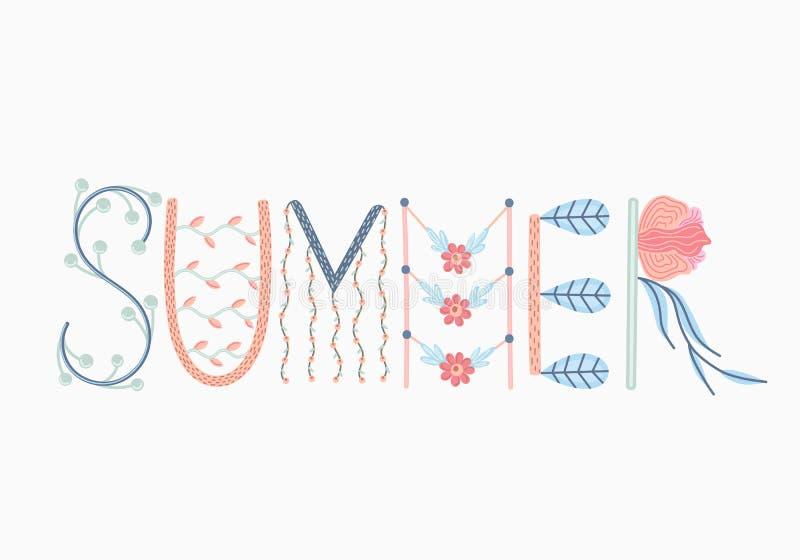Sommer Kreative Hand gezeichnete Beschriftung mit Blumendekorationen sommerzeit gekritzel Jahreszeit des Restes und der Reise lizenzfreie abbildung