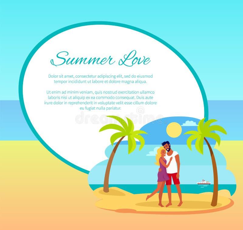 Sommer-Liebes-Netz-Plakat-glückliches Paar, das Palme umarmt lizenzfreie abbildung