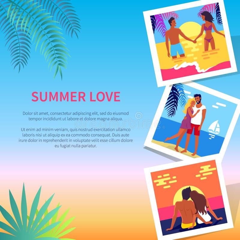 Sommer-Liebes-Plakat mit Fotos von reizenden Paaren stock abbildung