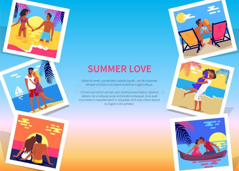 Sommer-Liebes-Plakat mit Paar-im Urlaub Fotos vektor abbildung