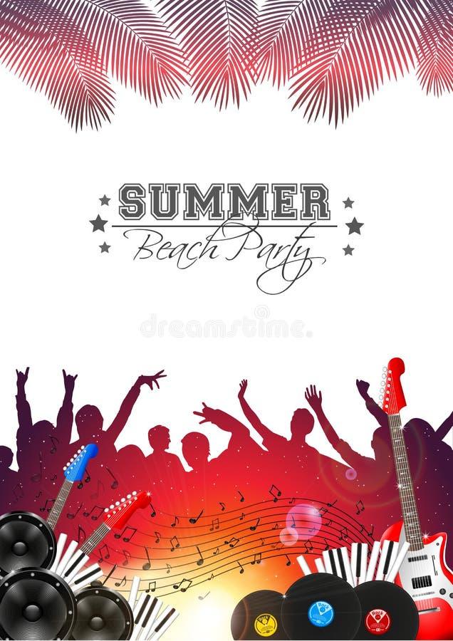 Sommer-Musik-Hintergrund mit Instrumenten - Vektor lizenzfreie abbildung