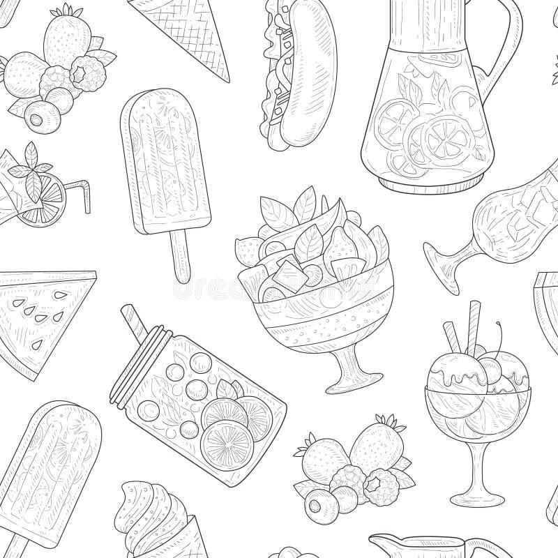 Sommer-Nahrungsmittelnahtloses Muster, Smoothies, Eis-Tee, Würstchen, Wassermelone, Eiscreme-einfarbige Handgezogener Vektor lizenzfreie abbildung