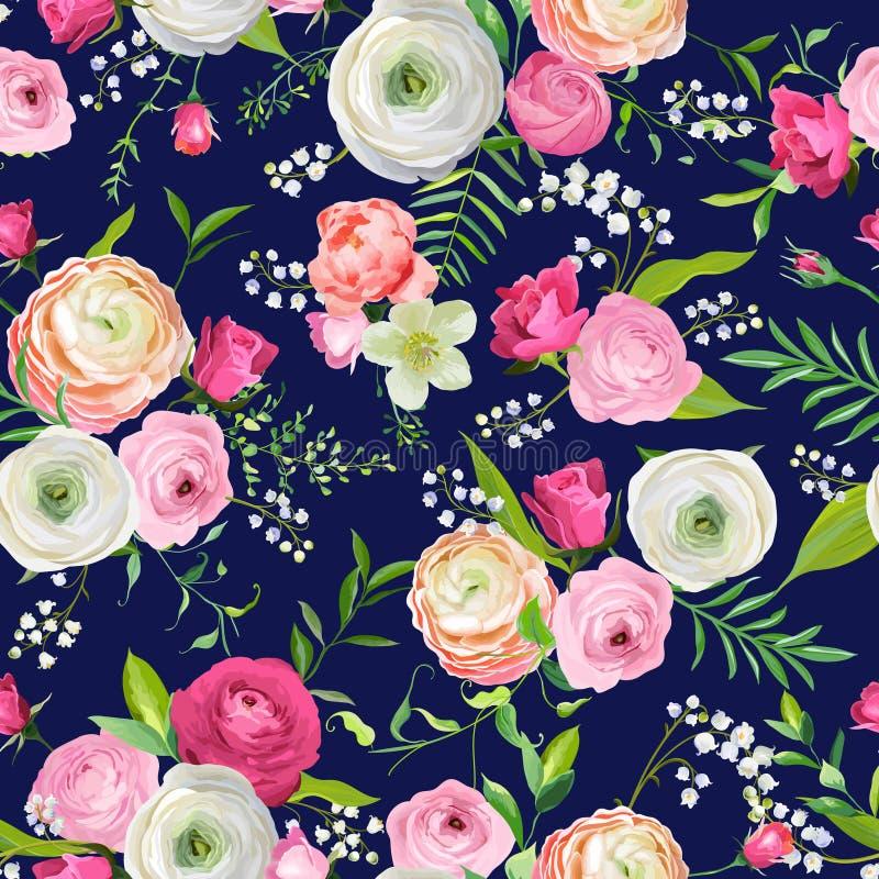 Sommer-nahtloses mit Blumenmuster mit rosa Blumen und Lilie Botanischer Hintergrund für Gewebe-Gewebe, Tapete, wickelnd ein vektor abbildung
