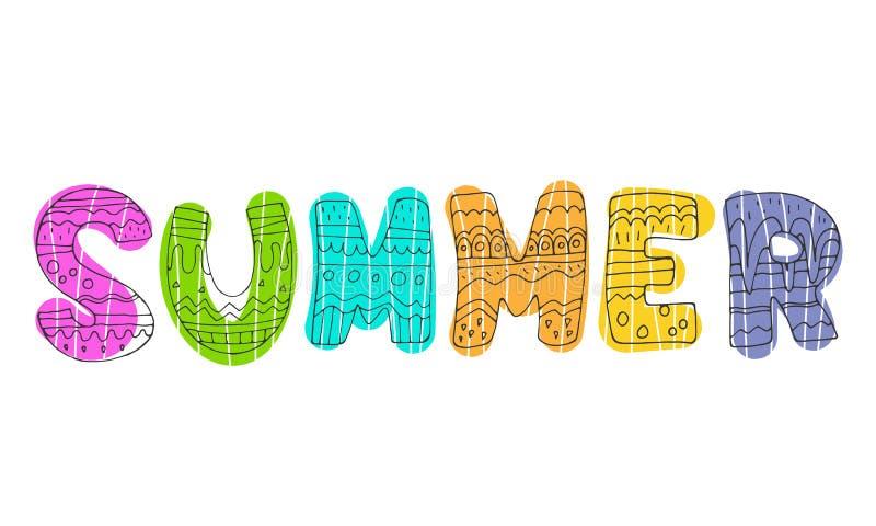Sommer Nette lustige Karikaturfarbdekoration, Vektorillustration mit der Aufschrift lizenzfreie abbildung