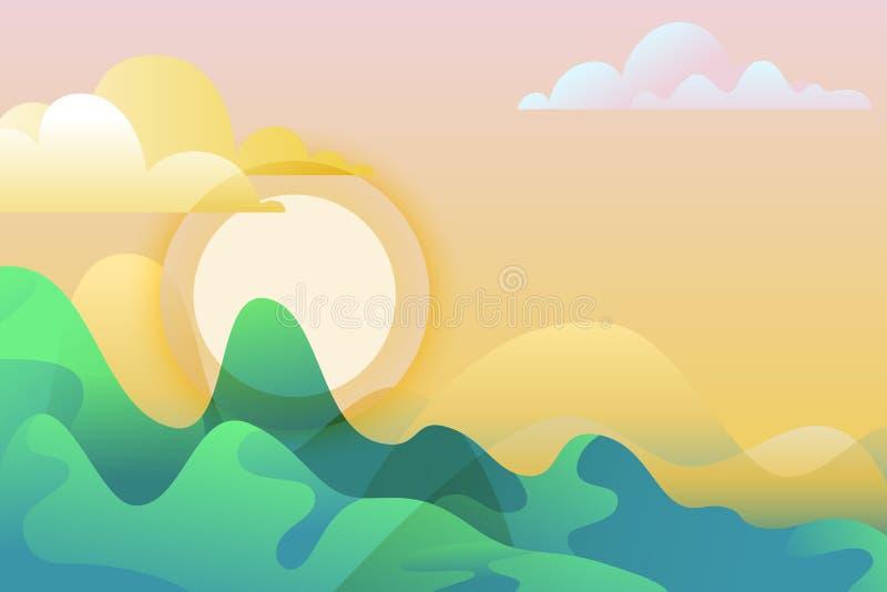 Sommer- oder Frühlingslandschaft, Vektorillustration Grüne Berge und Sonne Horizontaler Hintergrund der Natur mit Kopienraum vektor abbildung