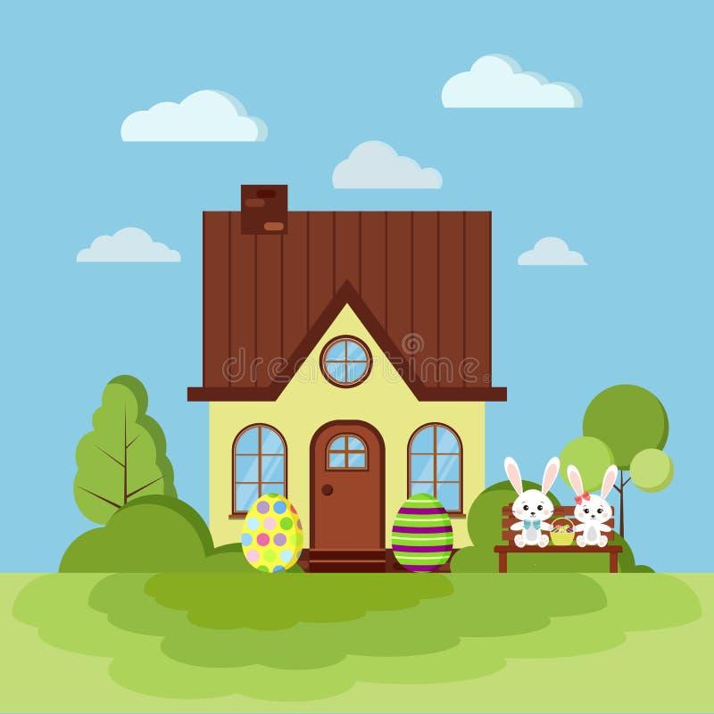 Sommer- oder Frühlingsostern-Landschaftsnaturszene mit ländlichem Haus mit Kamin vektor abbildung