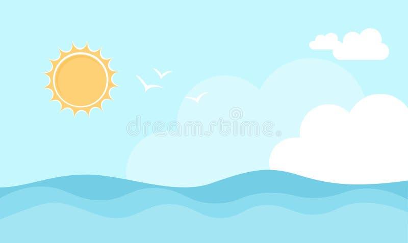 Sommer-Ozean Sun-Himmel-Vektor lizenzfreie stockfotos